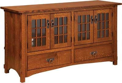 Harmony Mission Four Door Plasma TV Cabinet | Indiana Amish TV Stand |  Mission Style Plasma