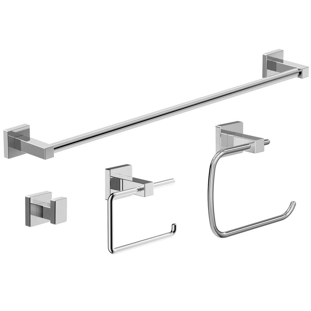 Symmons Duro 4-Piece Bath Accessory Kit in Chrome (Grey) | Bath ...