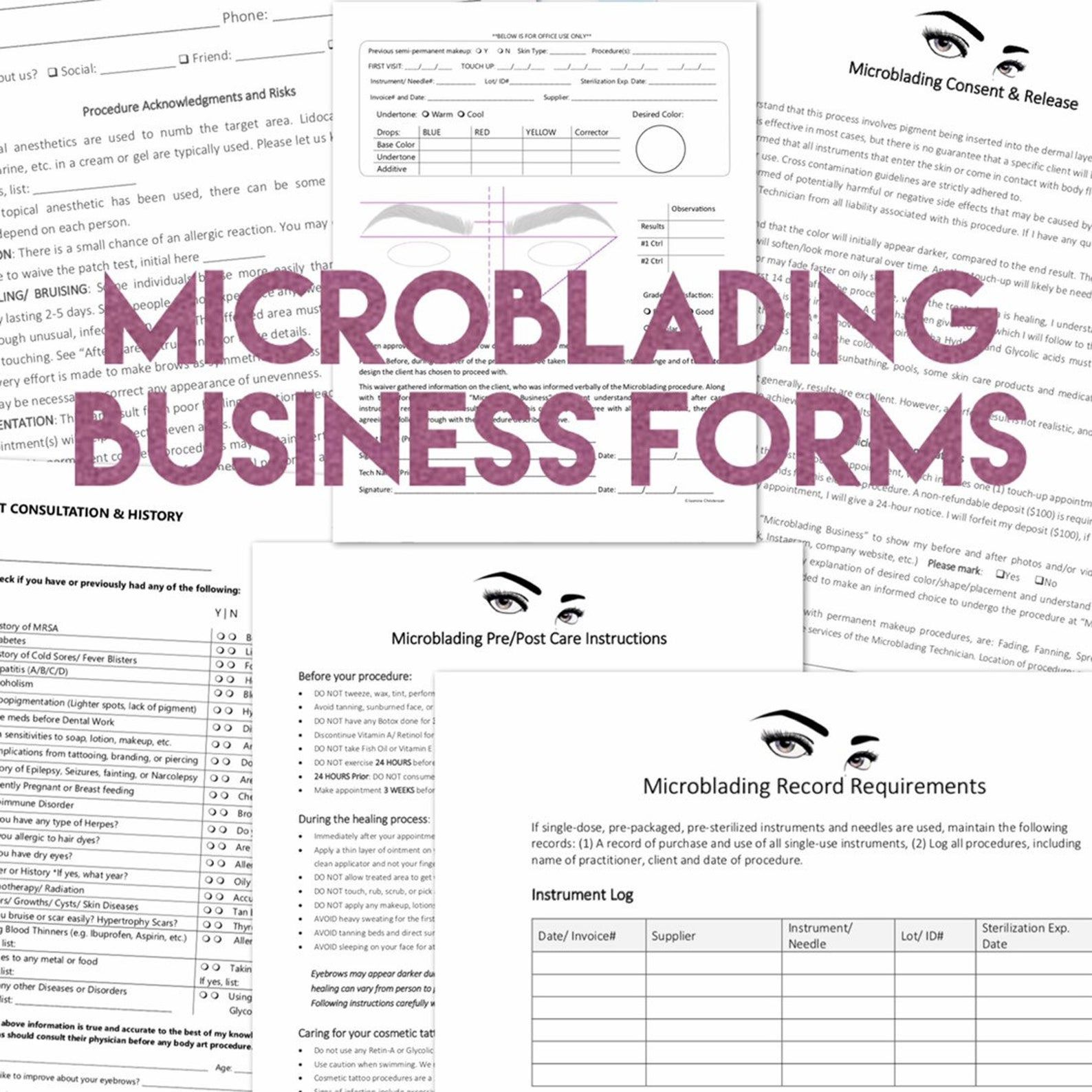 Microblading Permanent Makeup Care Forms add your Logo