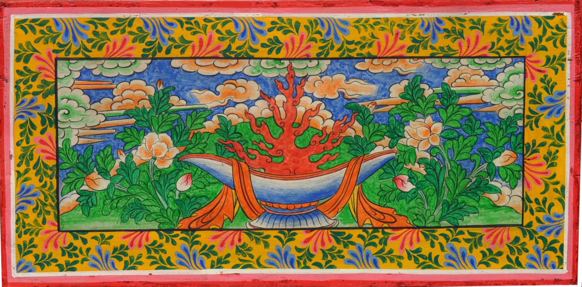 Manjushri Altar | Top View Of Hand Painted Tibetan Buddhist Furniture With  Offering Bowl .