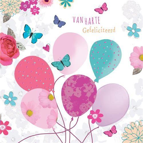 gefeliciteerd ballonnen felicitatiekaart   van harte gefeliciteerd   ballonnen en bloemen  gefeliciteerd ballonnen
