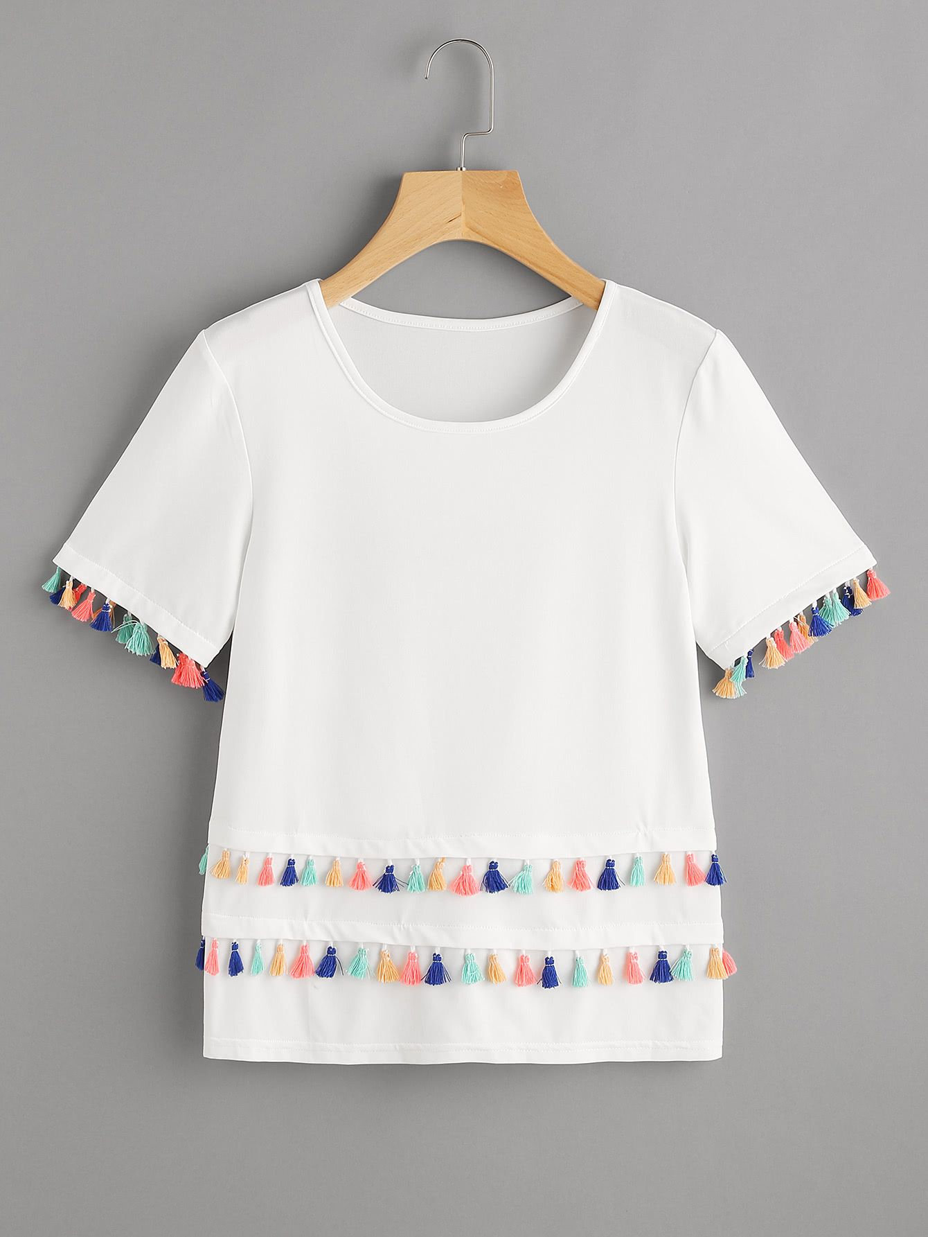 5972689858e59 Shop Tiered Tassel Trim T-shirt online. SheIn offers Tiered Tassel Trim  T-shirt   more to fit your fashionable needs.