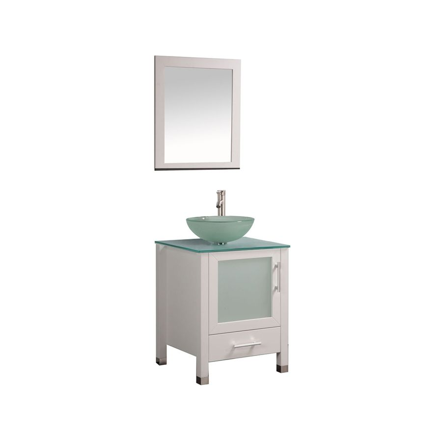 MTD Vanities Cuba White Vessel Single Sink Oak Bathroom Vanity with ...