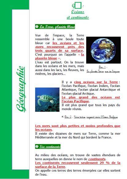 Lecon Oceans Et Continents Geographie Cycle 3 Etude Sociale