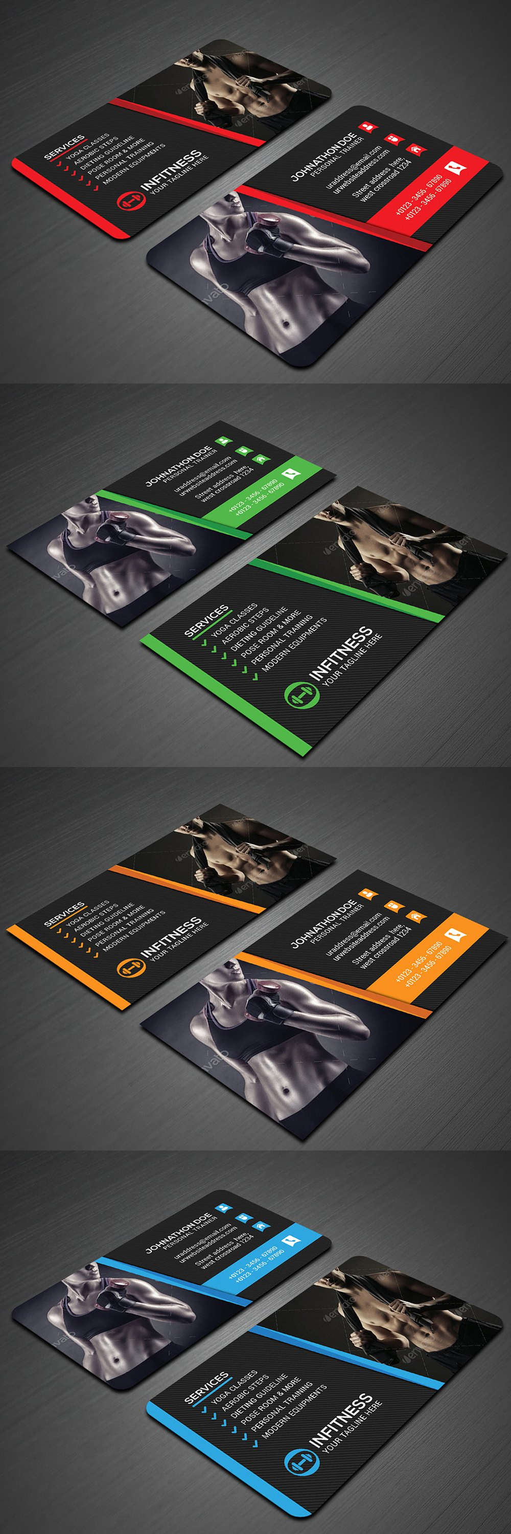 Fitness Business Card Templates Psd Danh Thiếp Thiệp