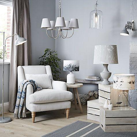 John Lewis Croft Collection Rowan Fishingnet Jar Lamp Base White Small Home Living Room Flat Interior Bedroom Lampshade