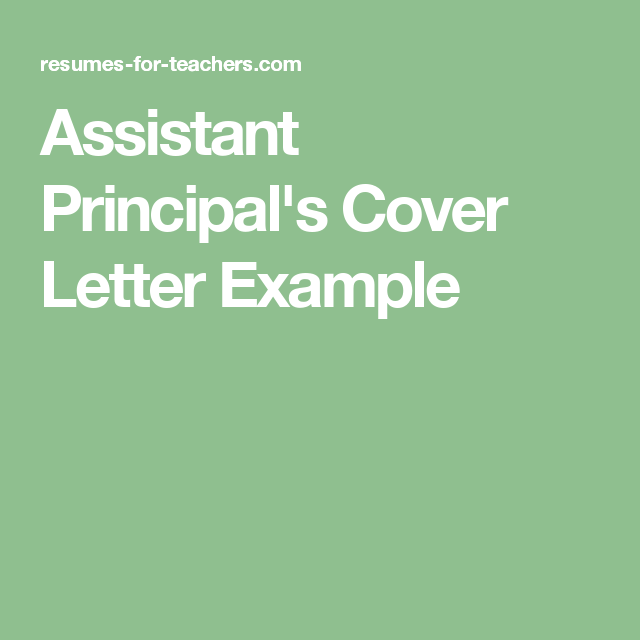 Assistant Principals Cover Letter Example