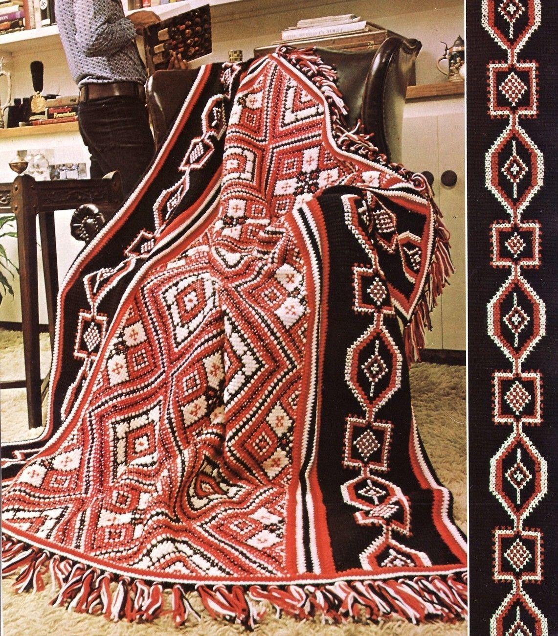 Indian Design Afghan Crochet Pattern Blanket Throw Fringe | Flecos ...