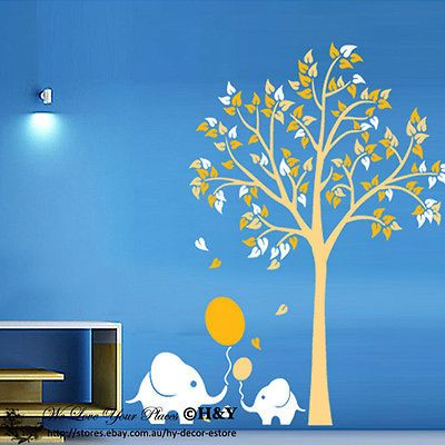 Elephant Balloon Gold Tree Wall Stickers Nursery Vinyl Decal Kids Baby Decor