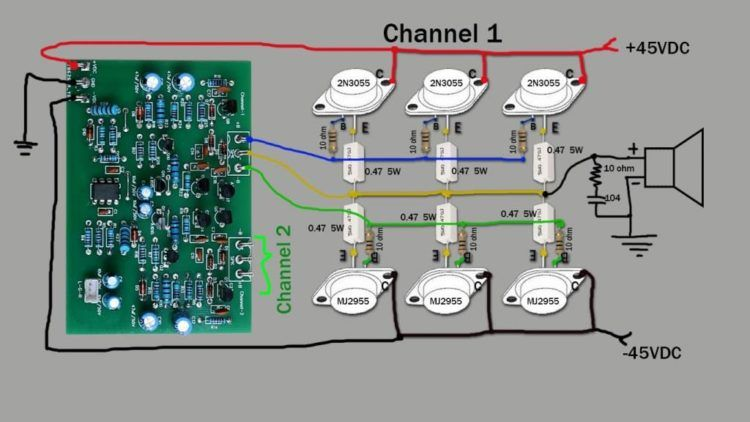 Audio stereo amplifier 500W using transistors D718 and ...