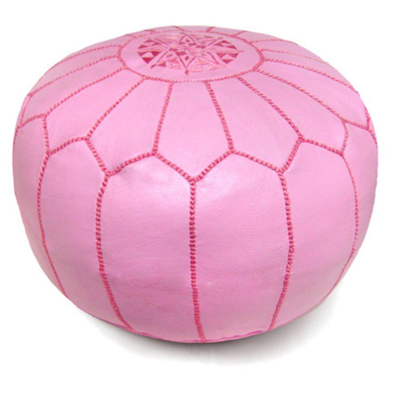 Ikram Design Round Moroccan Leather Pouf Pink - PF018