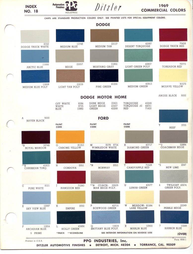 Paint Chips 1969 Ford Truck Paint Color Codes Paint Charts Trucks