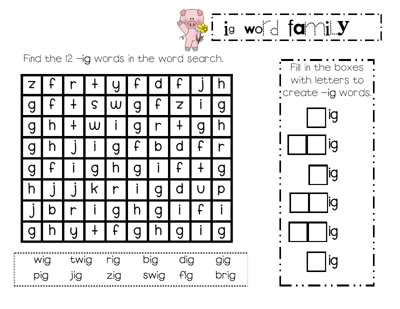 Lory S Page Freebie Word Family Unit Addition Ig Word Families Word Family Activities Cvce Words