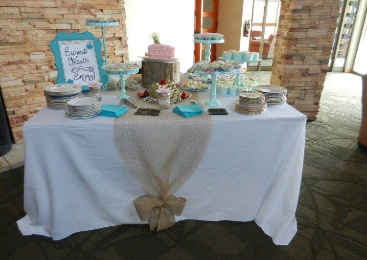 Sweet table, party ideas, burlap, runner, aqua