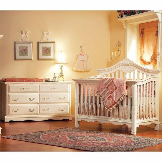 Savannah 2 Piece Nursery Set In Linen White   Lifetime Crib And Double  Dresser By Munire