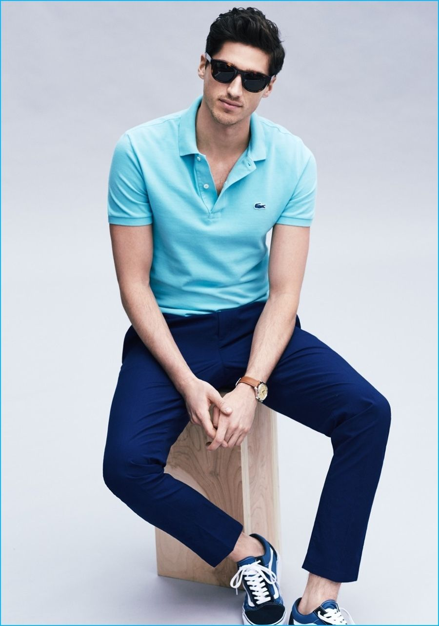 Men's Light Blue Polo, Navy Chinos, Blue Low Top Sneakers, Navy ...
