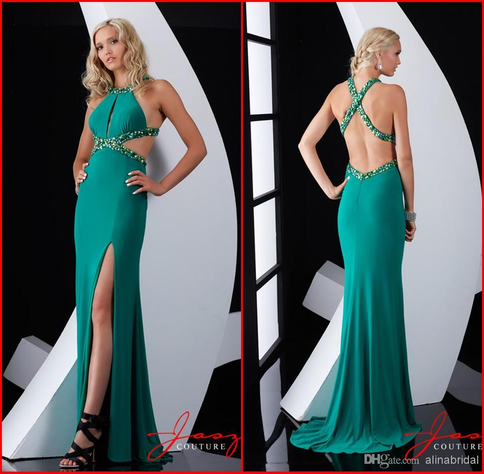 Wholesale Prom Dresses - Buy 2014 Prom Dresses Halter Beaded Cross ...