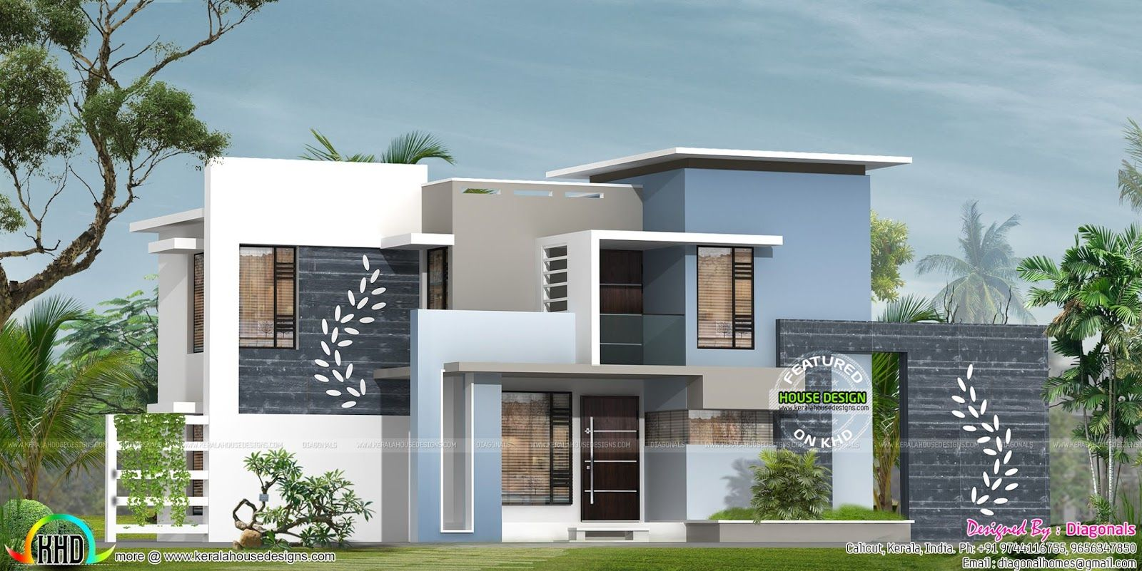 Designer home contemporary flat roof kerala home design for Kerala home design flat roof elevation
