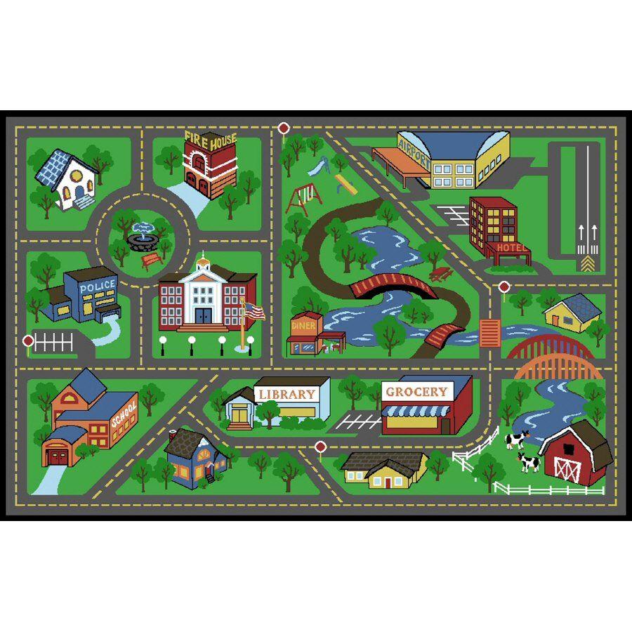 Shaw Living 36 W X 60 L Green My Town Kids Rug Lowe S Canada