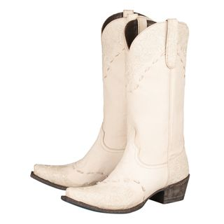 273db6e17fc Lane Boots Women's 'Jeni Lace' Ivory Leather Cowboy Boots ...
