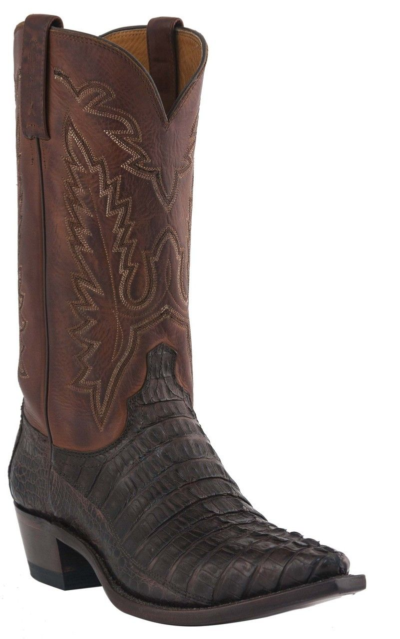 bddfdcc035c Mens Lucchese Since 1883 Western Barrel Brown Waxy Hornback Caiman ...