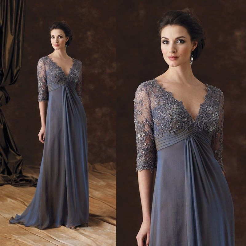 29ebc67070a 3 4 Sleeve Lace Applique Plus Size Mother Of The Bride Dress Gray Evening  WD148  wendycloth  BallGownEmpireWaistMaxi  Formal