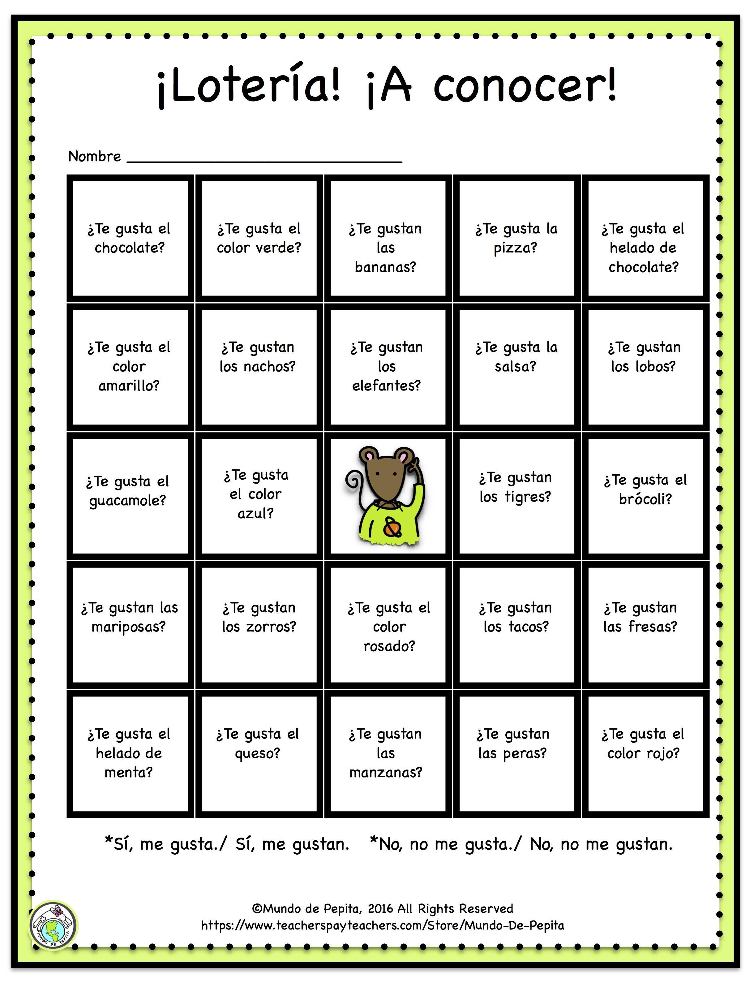 Free Loteria Bingo Getting To Know You Me Gusta