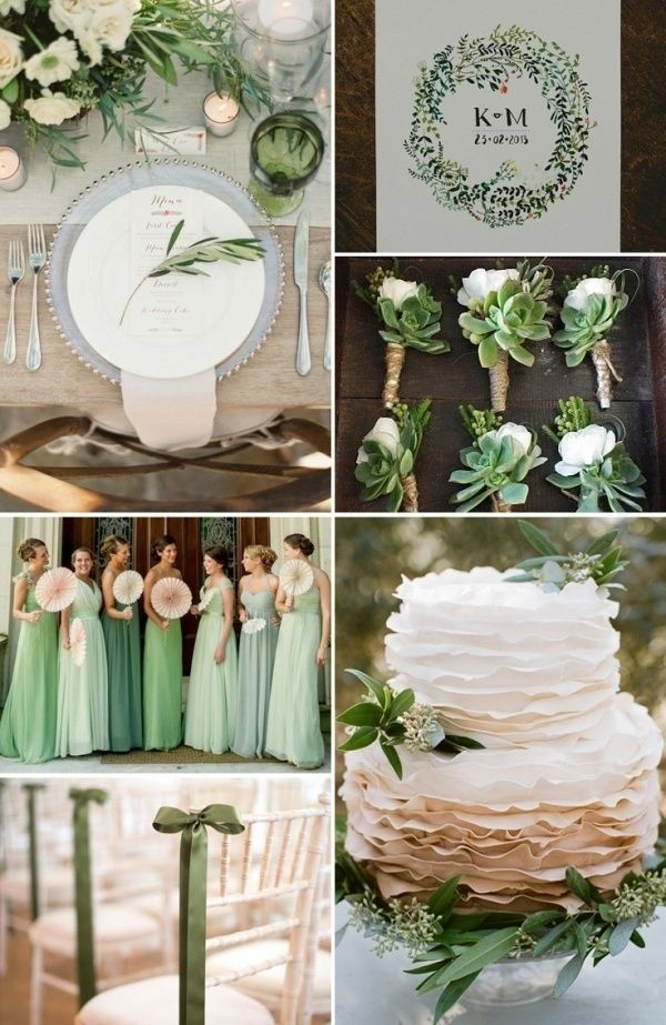 Color Themes For Wedding Ideas Green Colors And White