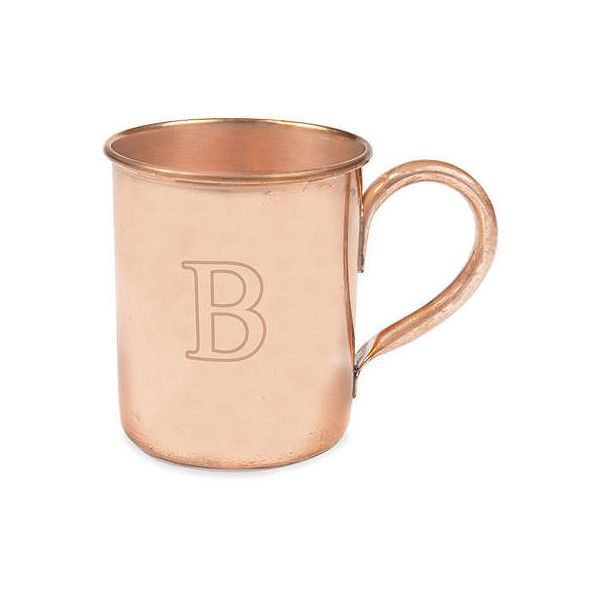 Cathy's Concepts Monogram Moscow Mule Personalizable Copper Mug ($40) ❤ liked on Polyvore featuring home, kitchen & dining, drinkware, personalized mugs, monogrammed copper mugs, copper drinkware, copper mugs and engraved mugs