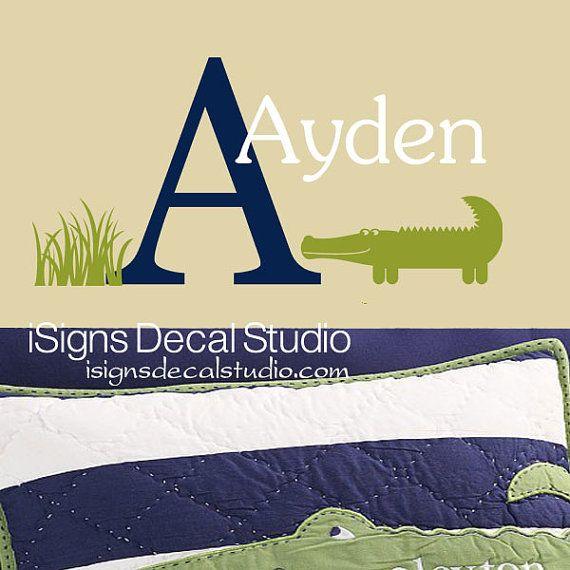 Alligator Wall Sticker Initial Name Decal Alligator Monogram Kids ...