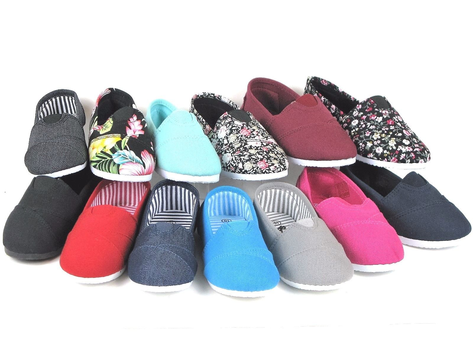 New Kids Boys Girls Simple Canvas Slip-On Shoes Flats Loafers 13 Colors Size 9-4