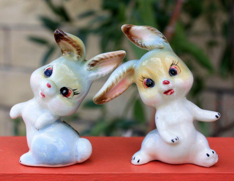 Vintage Ceramic Bunny Rabbit Figurine Easter Decoration Kitschy Cute Spring Decor