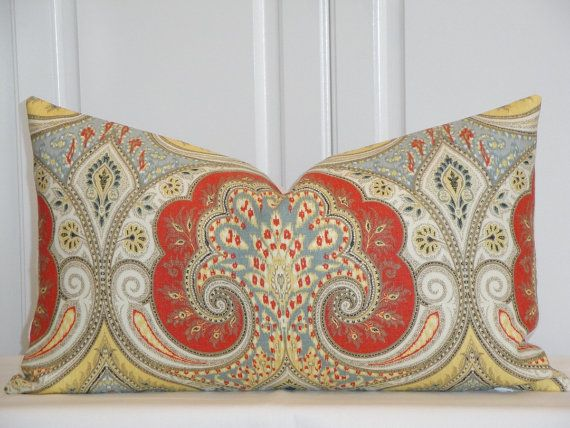 Awe Inspiring Kravet Decorative Pillow Cover Persimmon Yellow Blue Ocoug Best Dining Table And Chair Ideas Images Ocougorg