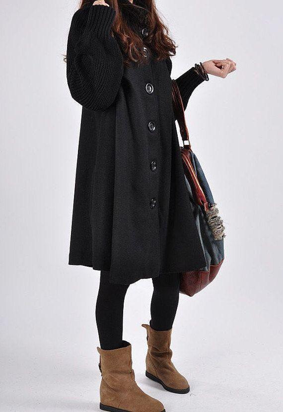 Black+Wool+coat+woolen+dress+wool+Jacket+Parkas+by+lsmartmiss,+$56.00