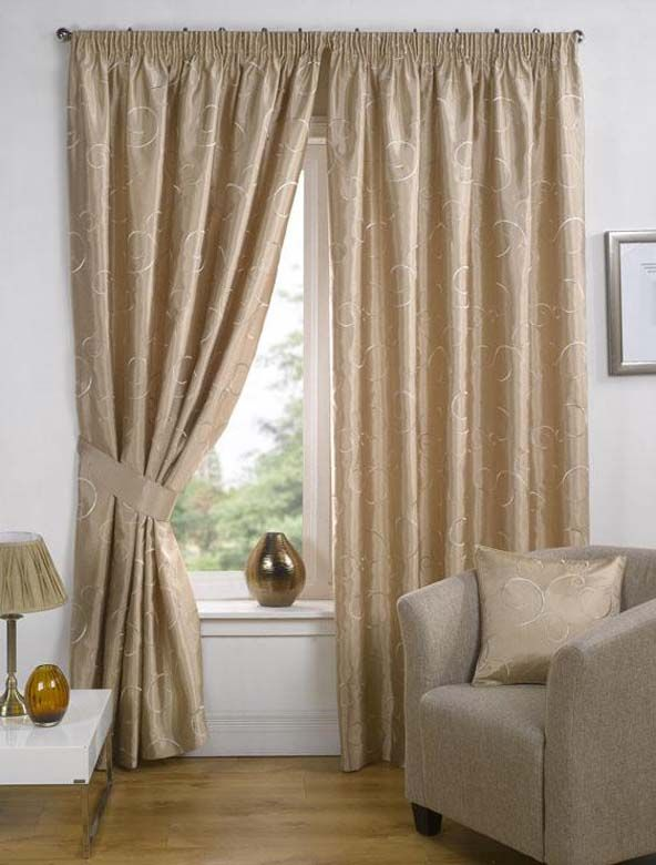 Curtain Design Ideas For Living Room: Living Room: Nice White Cream Curtain Ideas With Wall Unit