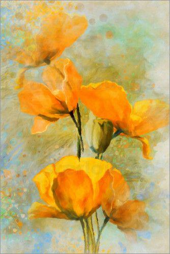 m tenbergen gelbe mohnblumen abstrakt fotoleinwand poster gunstig mohnblume textil leinwand 60x40