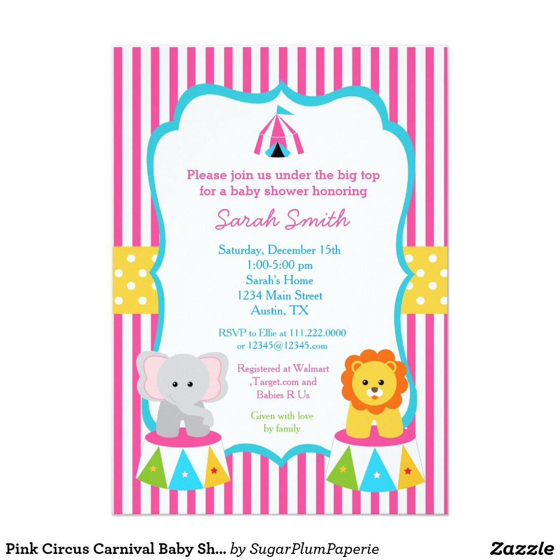 Pink Circus Carnival Baby Shower Invitations Girls | Baby Shower ...