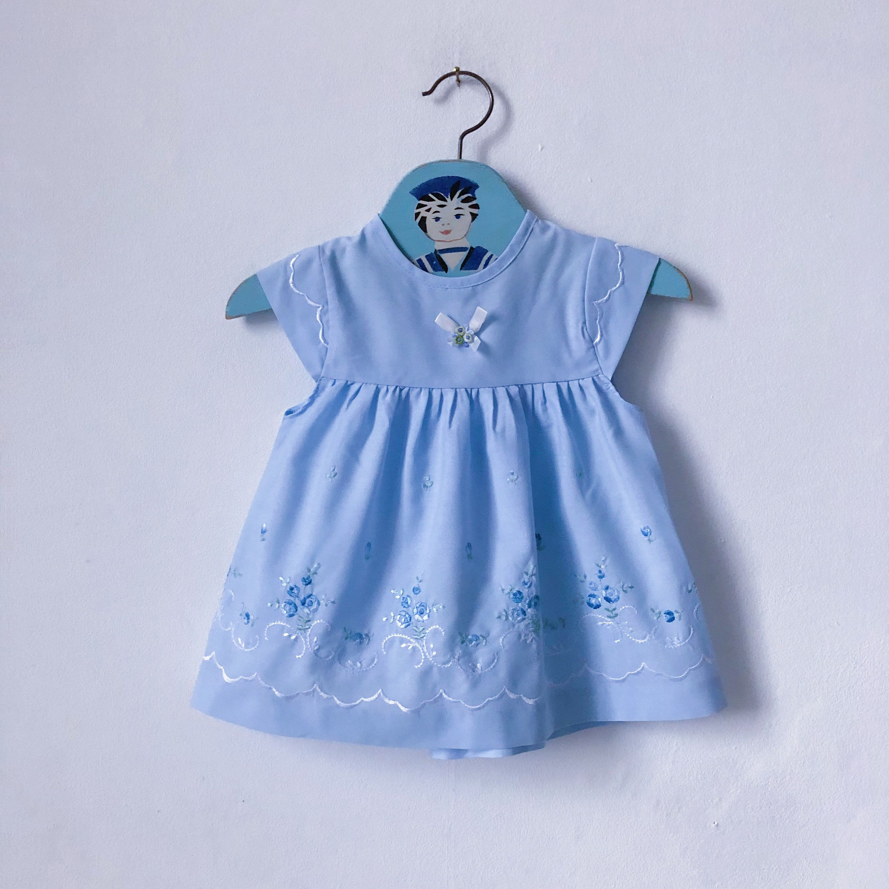Vintage corduroy pinafore dress girls age 6-12 months from 1980s