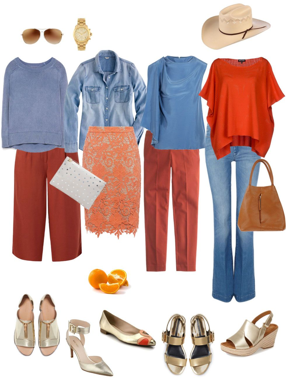Ensemble Rust Light Blue Gold Colourful Outfits Color Combinations For Clothes Blue Outfit
