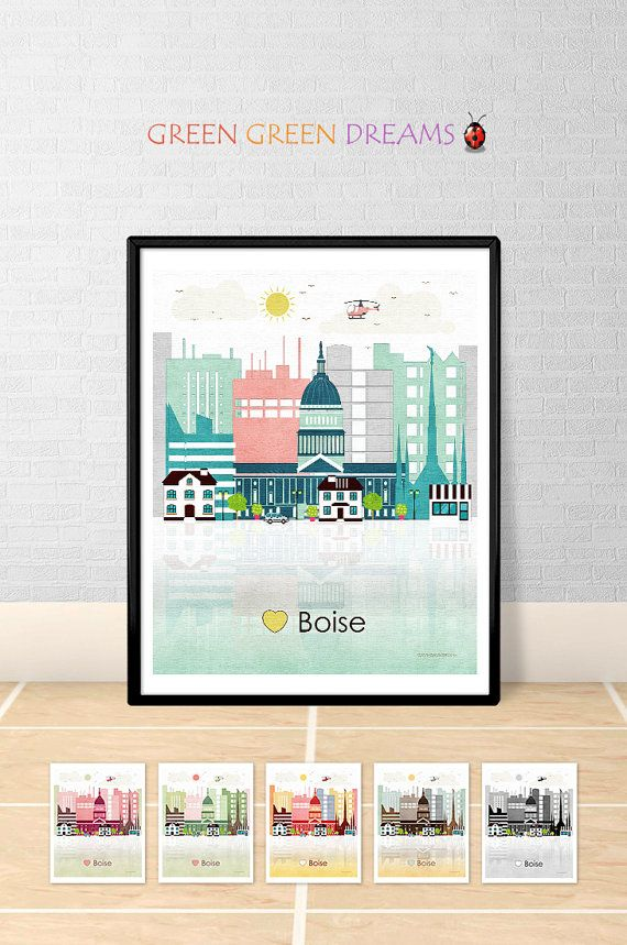 Boise print Wall art Poster Boise skyline Idaho print City poster Boise Idaho Home Decor Digital Print Printable download GreenGreenDreams.  ⇨ Do you want to have in your home the print of this city? I created it in TURQUOISE.  ⇨ Do you prefer it in another color?  You can choose between: pink, green, red, brown or black & white!  CLICK ON THE LINK BELOW:  www.etsy.com/listing/386565446  and follow the INSTRUCTIONS;))  Or, if you prefer, REQUEST A CUSTOM ORDER: I will create a l...