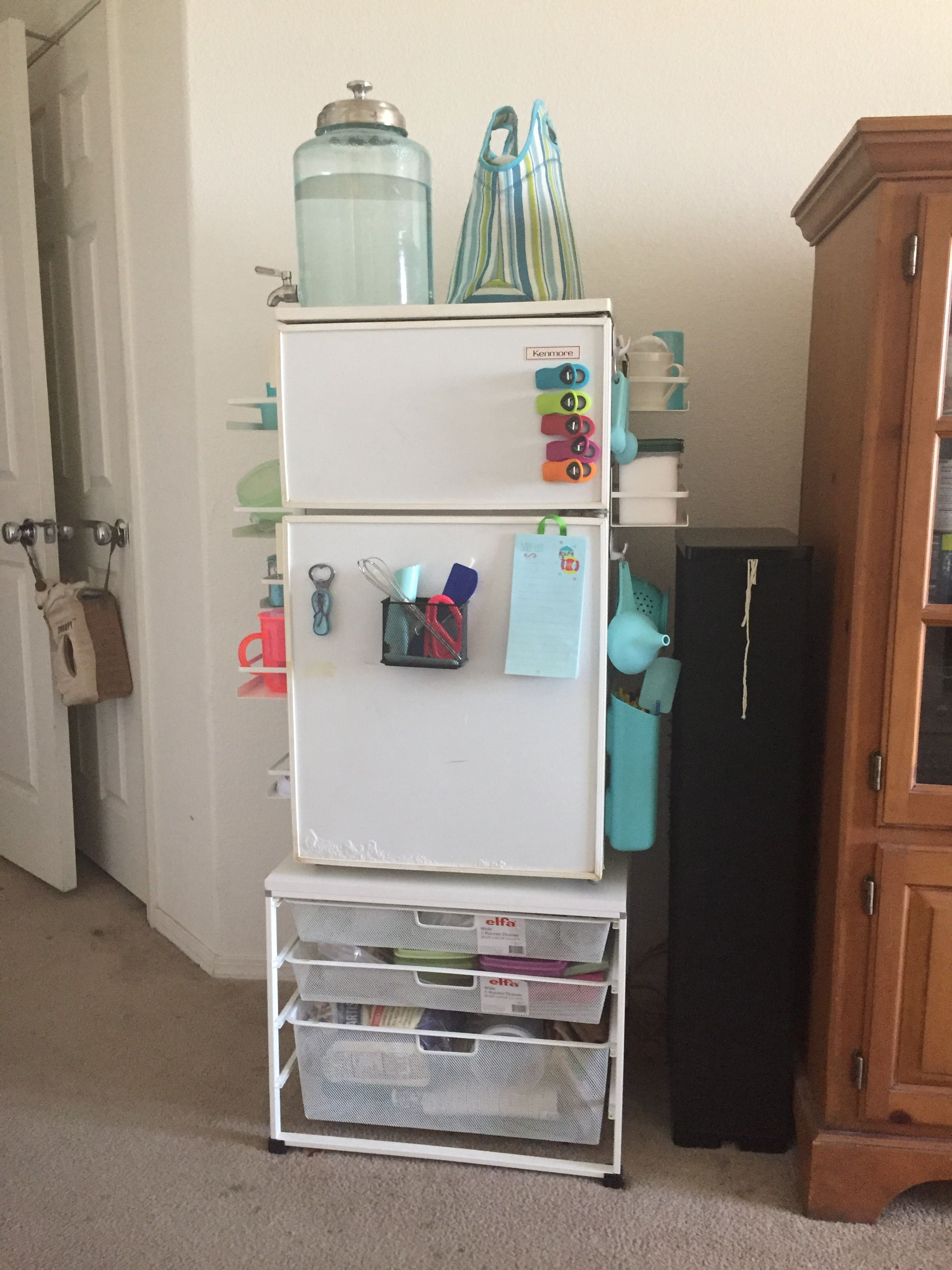 Corner hallway storage cabinet  Just wanted to share how I set up my fridge in my room I created a