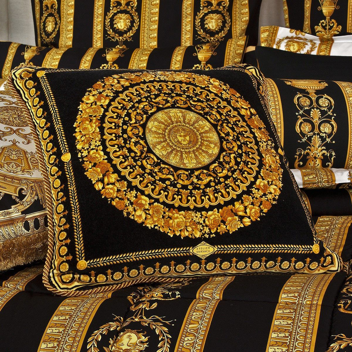 Versace Home Versace Fabric By The Yard Versace Le Grand Baroque Medusa Velvet Fabric 54 Versace Home Textile Design French Country