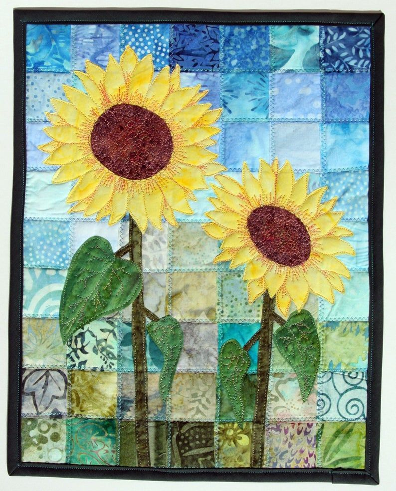 Batik Sunflowers Quilted Wall Hanging / Art Quilt, Pattern
