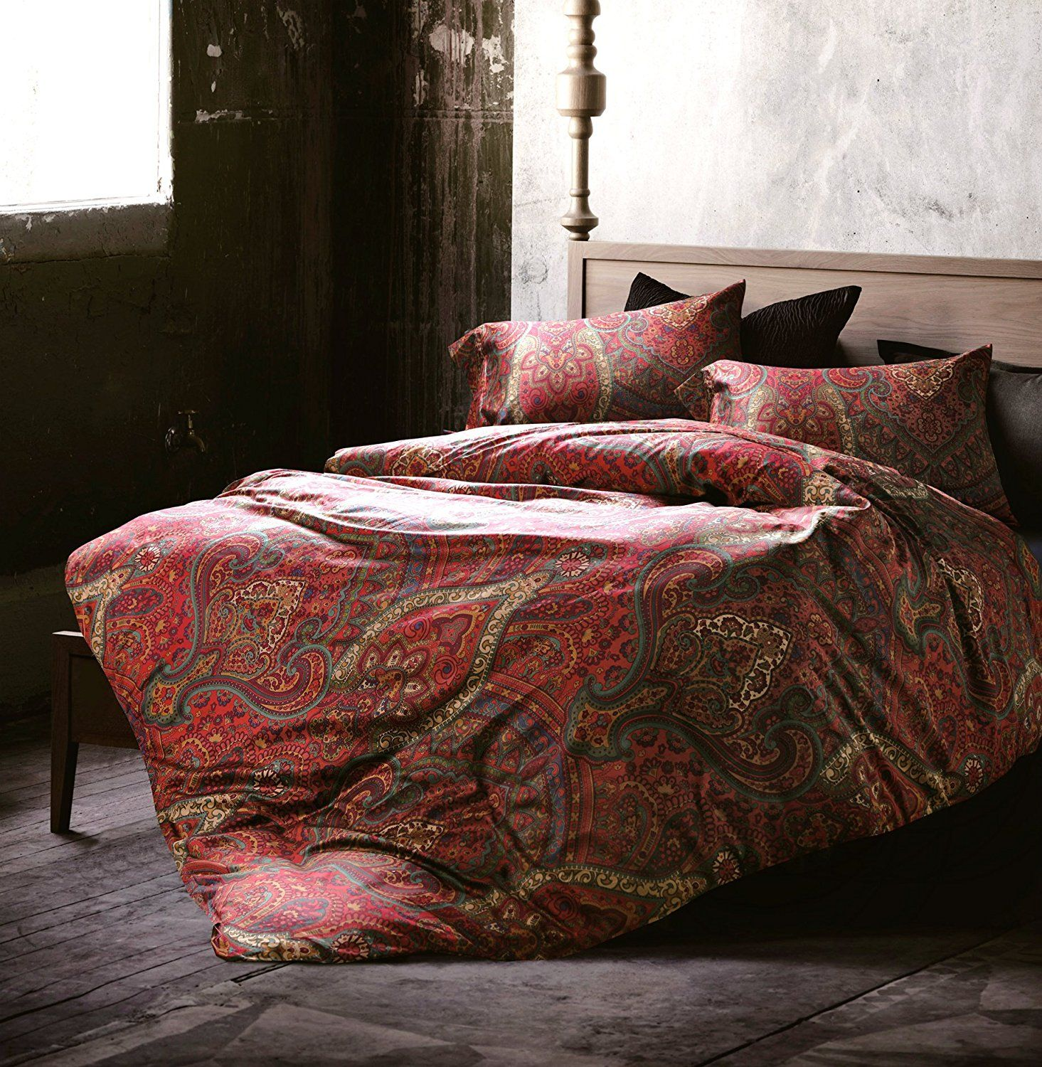 Burgundy Bedding Sets – Best Fall Bedding Collections Boho Paisley