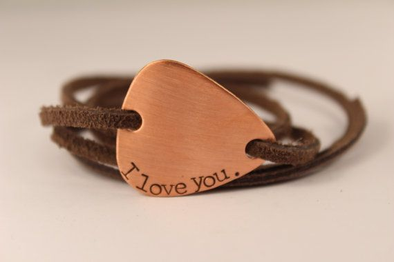 Custom Hand Stamped Guitar Pick Leather Wrap Bracelet