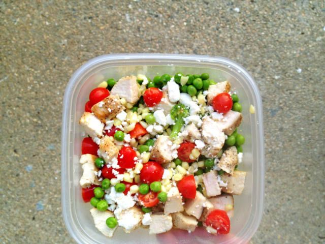 Lunch: 4 ounces marinated and grilled chicken (120 for chicken alone + 30 for marinade = 150) + 1/2 cup green peas (60)  + 1/2 cup corn (60) + 2/3 cup chopped, steamed broccoli (~50) + 1/2 cup chopped cherry tomatoes (~30) + 2 tablespoons crumbled feta cheese (50) + 2 tablespoons finely chopped basil (0) = 400