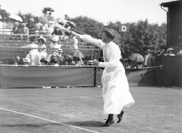 1908: British tennis player Charlotte Sterry (nee Cooper), who won the Wimbledon Ladies Singles title in 1895, 1896, 1898, 1901 and 1908.