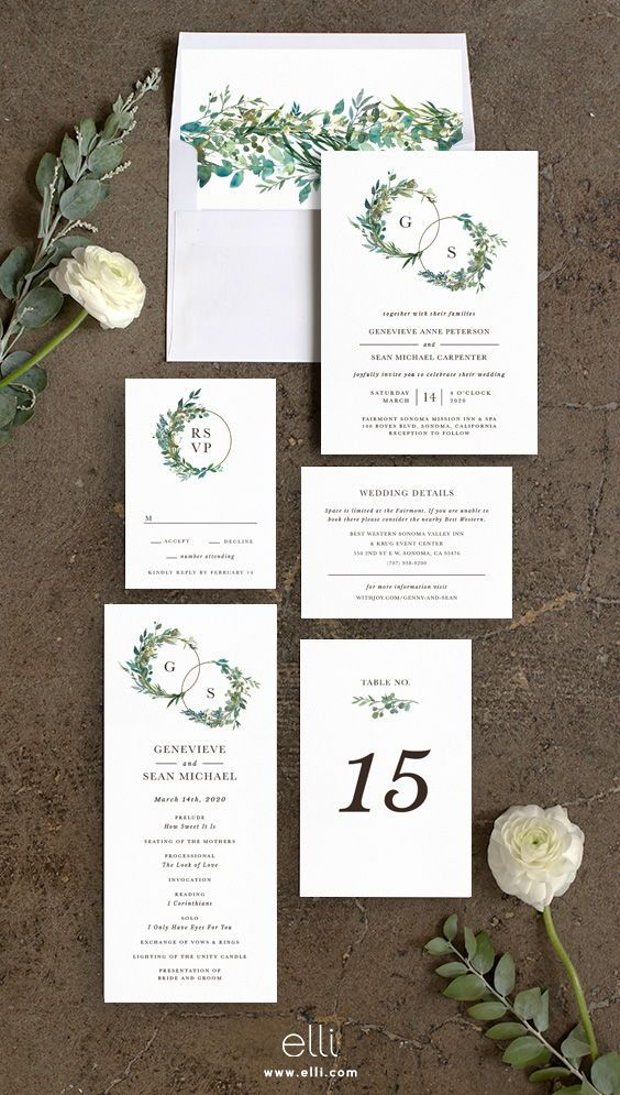 Leafy Hoops Wedding Invitations is part of Wedding invitations - Modern meets traditional with this elegant wedding invitation  Designed with two circle hoops affixed with lush greenery and your initials nestled inside, these gorgeous monogram rings not only set the tone for your wedding but symbolize your unity as a couple