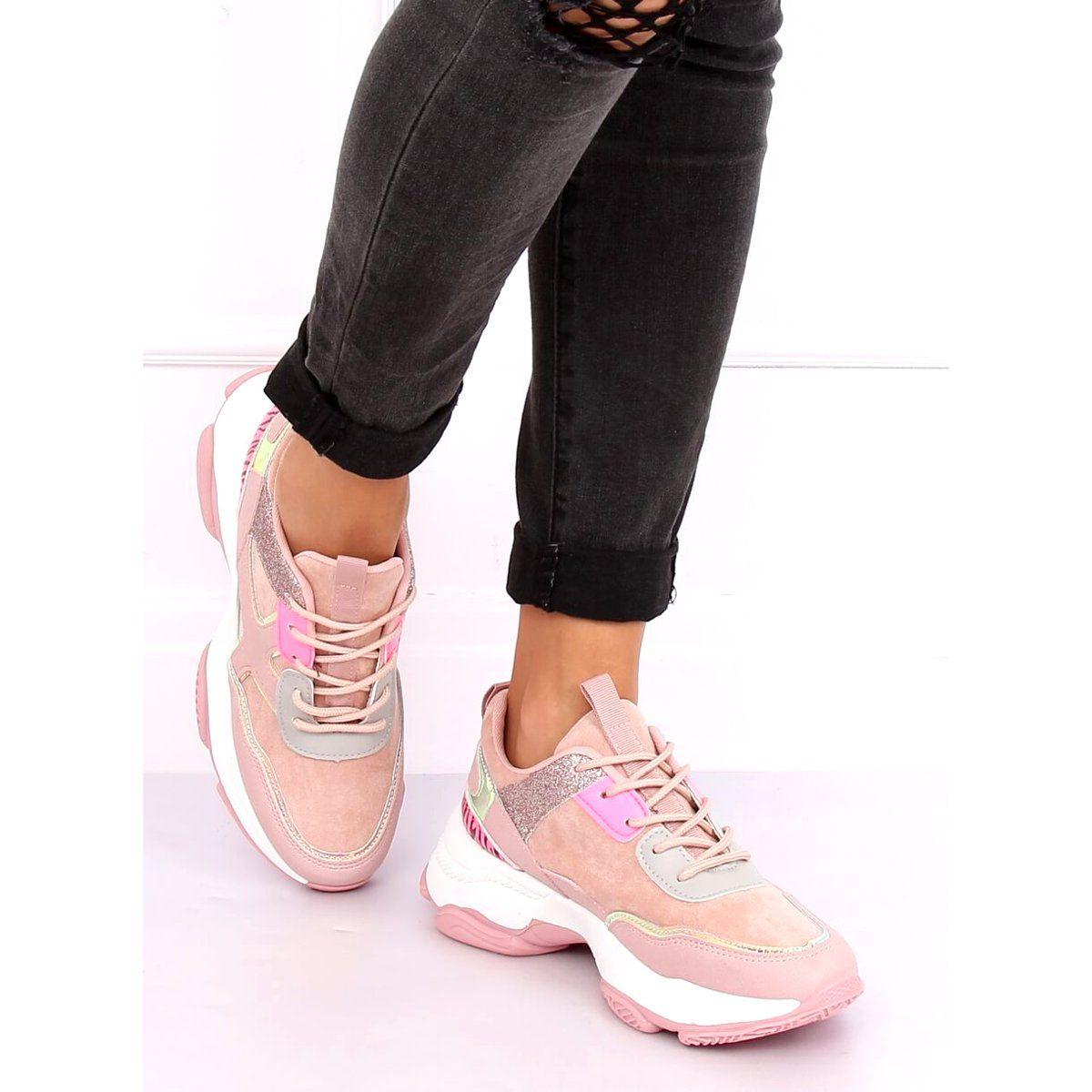 Buty Sportowe Rozowe Hl 12 Pink Pink Sport Shoes Sports Footwear Lace Heels