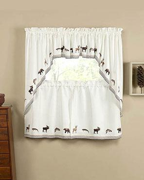 Lodge Embroidered Tier Valance And Swag Curtains Swag Curtains Curtains Valance